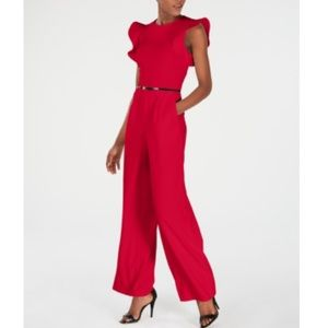 NWT Calvin Klein Red Ruffle Sleeve Belted Jumpsuit